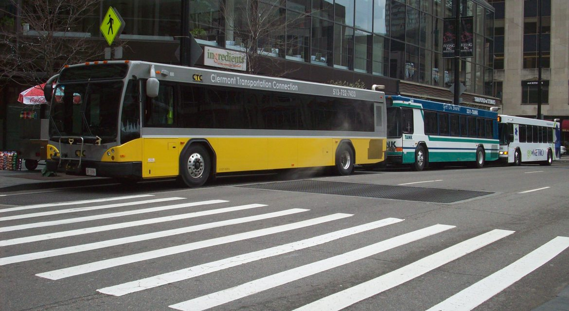 image of ctc, metro and tank buses lined up downtown
